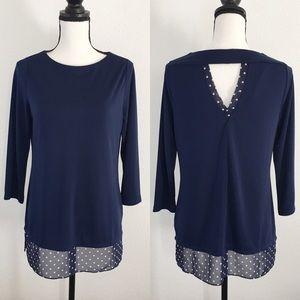 Susan Graver blue polka dot long blouse XS